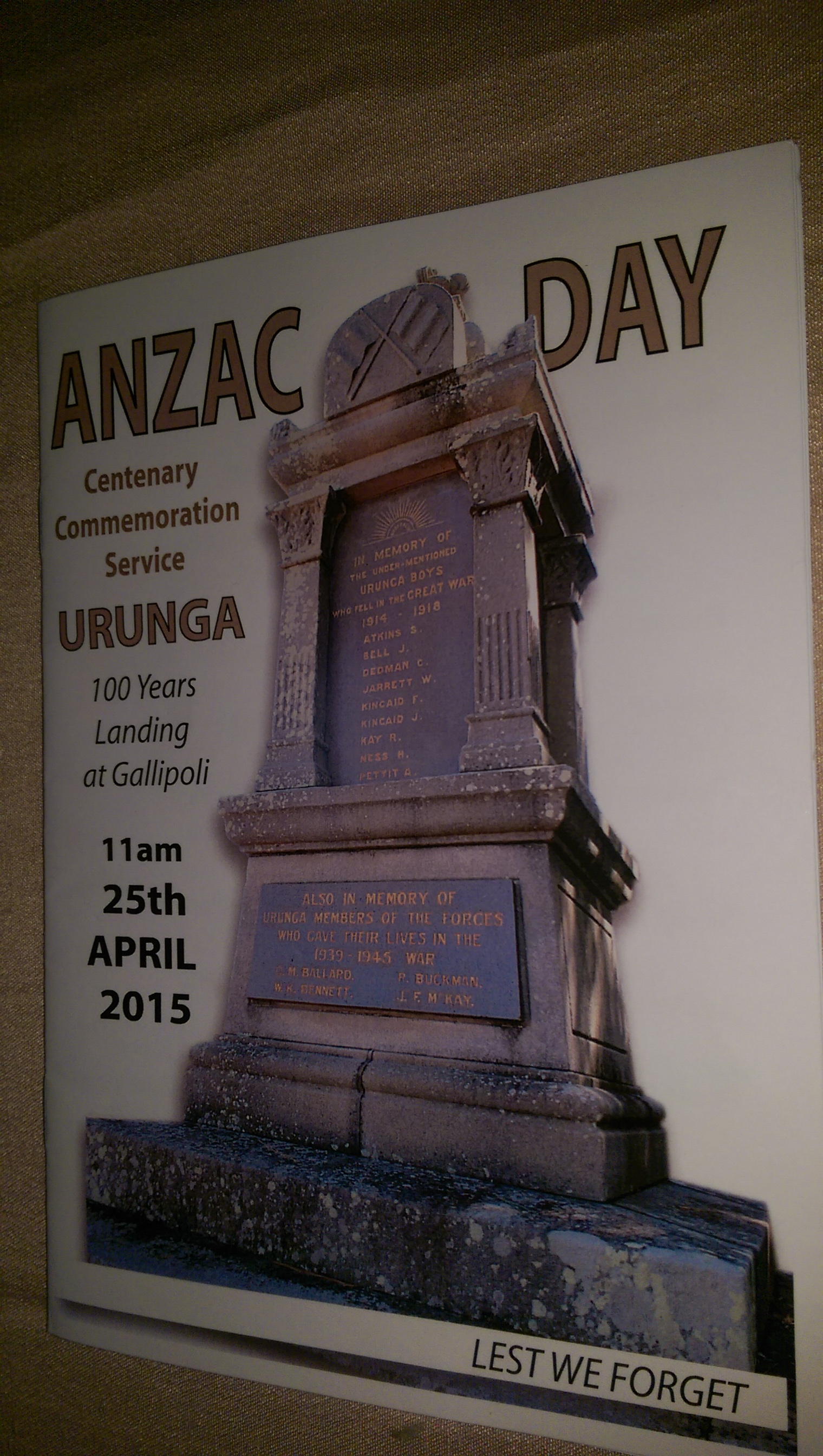URUNGA RSL  TOWNSHIP COMMEMORATIVE SERVICE BOOKLET