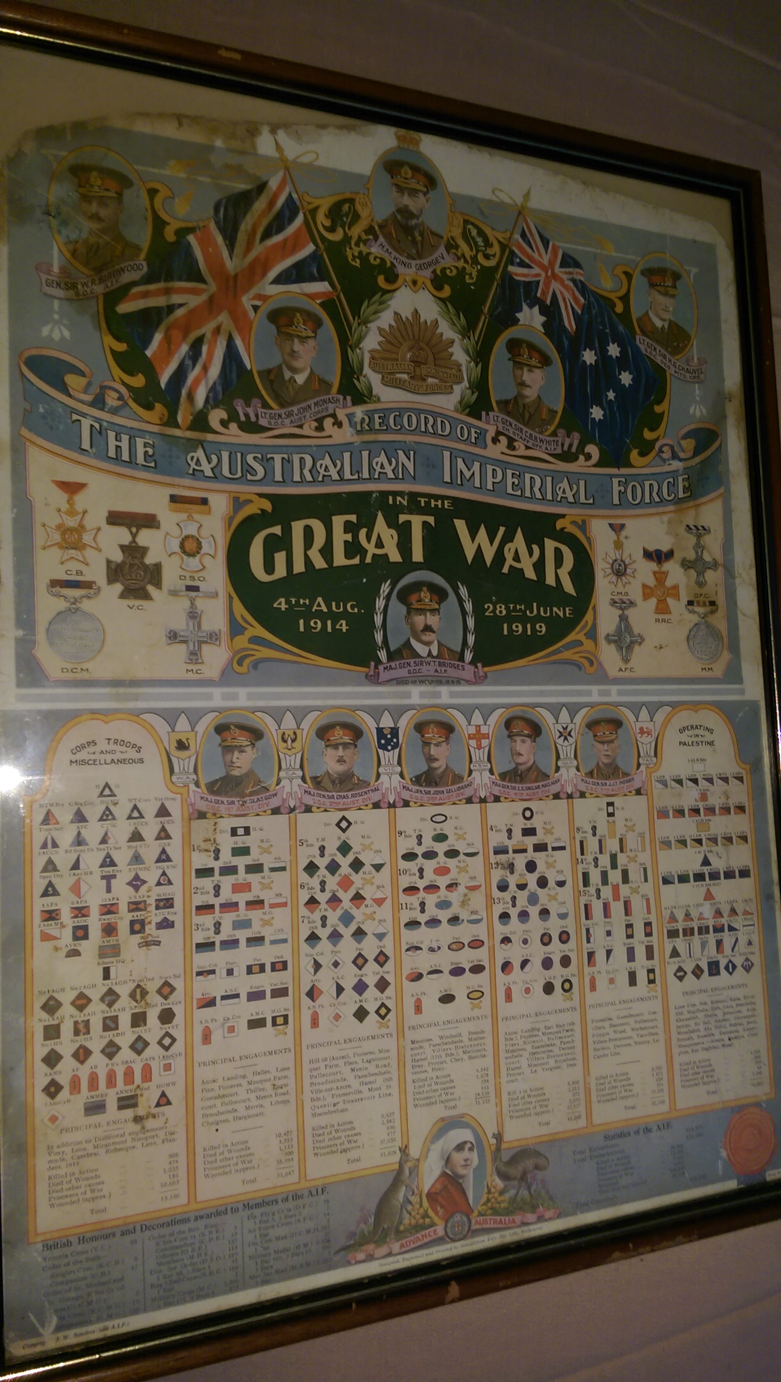 GREAT WAR POSTER SHOWS ALL THE ARMY PEOPLE THAT CLEMENTINA MARSHALL WORKED WITH & MET DURING HER  NU