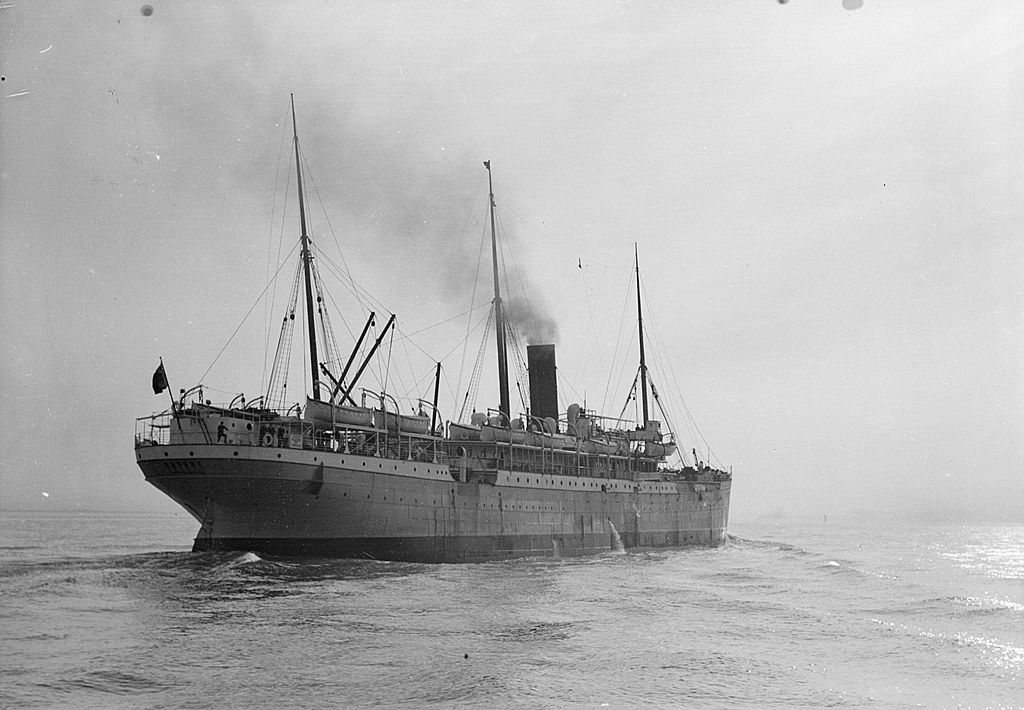 REAR QUARTER PASSENGER SHIP GASCON BUILT IN BELFAST 1897 A COASTAL  STEAMER WITH 150 CABINS, THEN DU