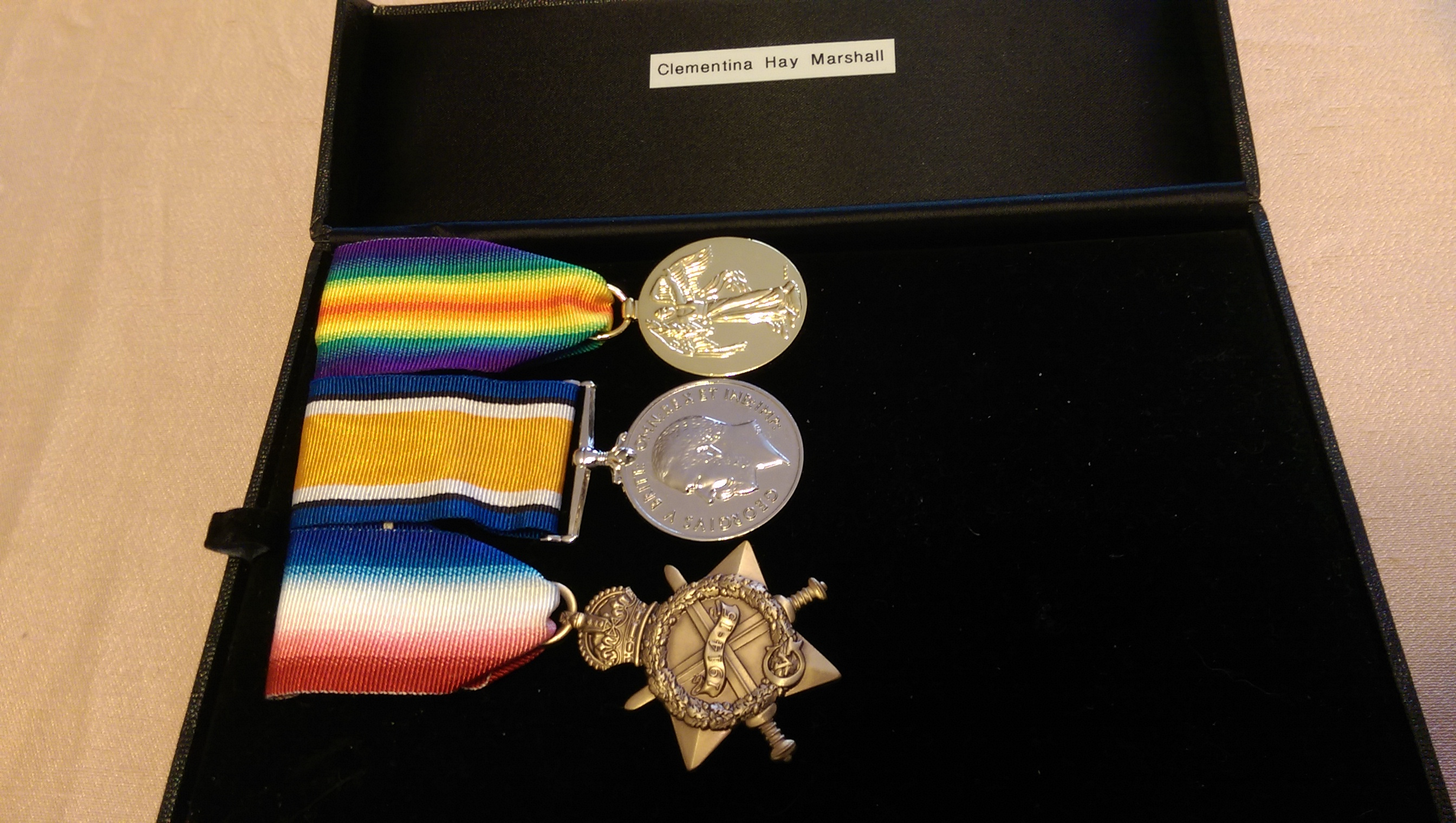 REPRODUCTIONS OF CLEMENTINA MARSHALL WW1 SERVICE MEDALS, C/O MARGARET MARSHALL GREAT NIECE.