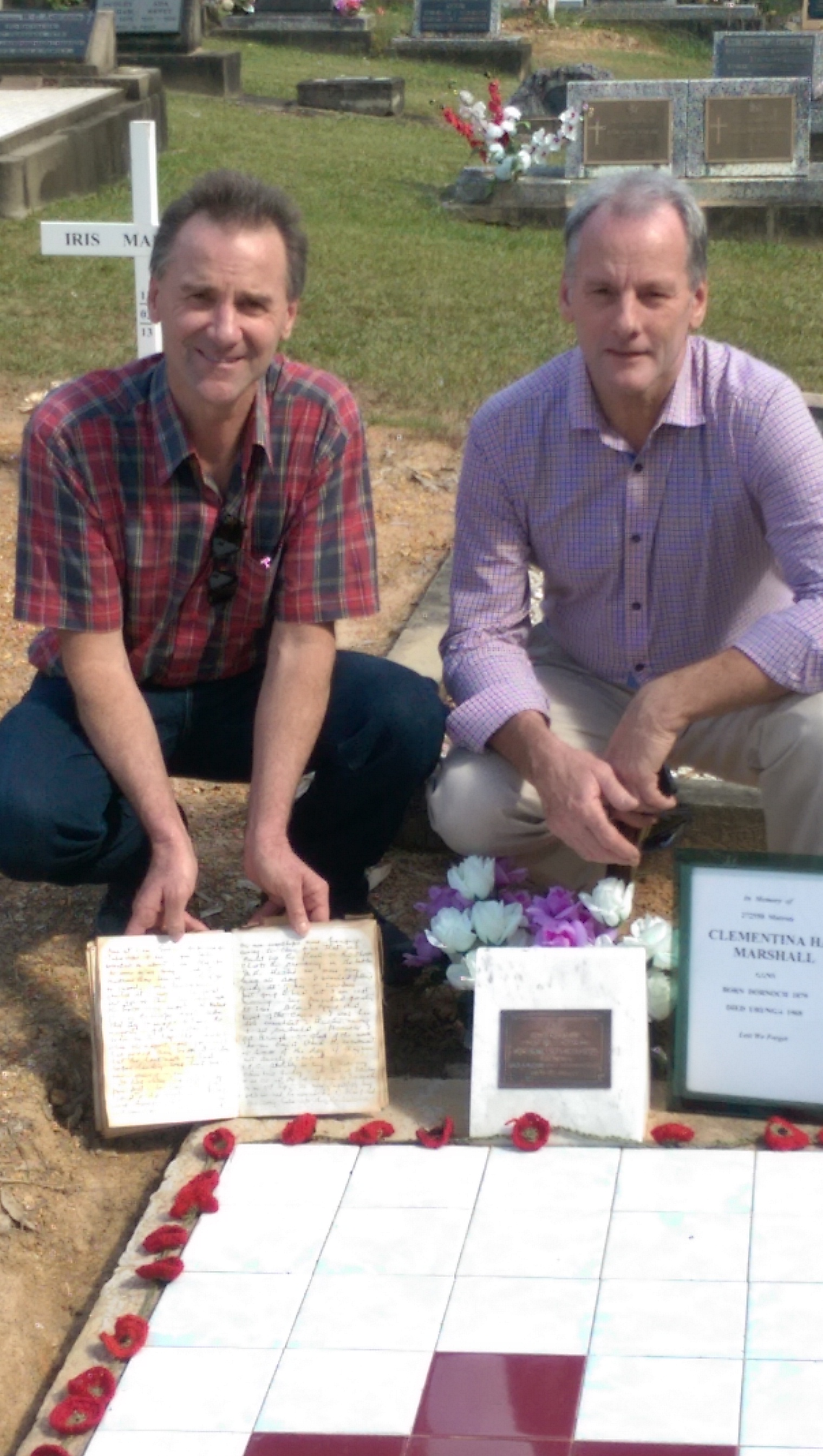 DONALD & ROSS MARSHALL GREAT NEPHEWS OF CLEMENTINA MARSHALL WITH HER DIARY FROM 1914
