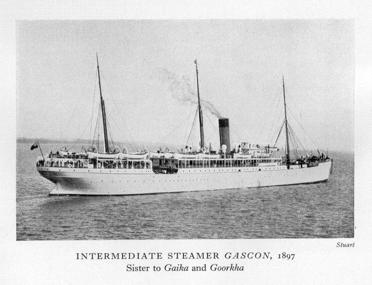 PASSENGER SHIP GASCON BUILT IN BELFAST 1897 A COASTAL  STEAMER WITH 150 CABINS, THEN DURING WARTIME
