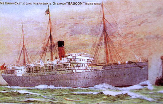 coloured painting of GASCON as a passenger ship