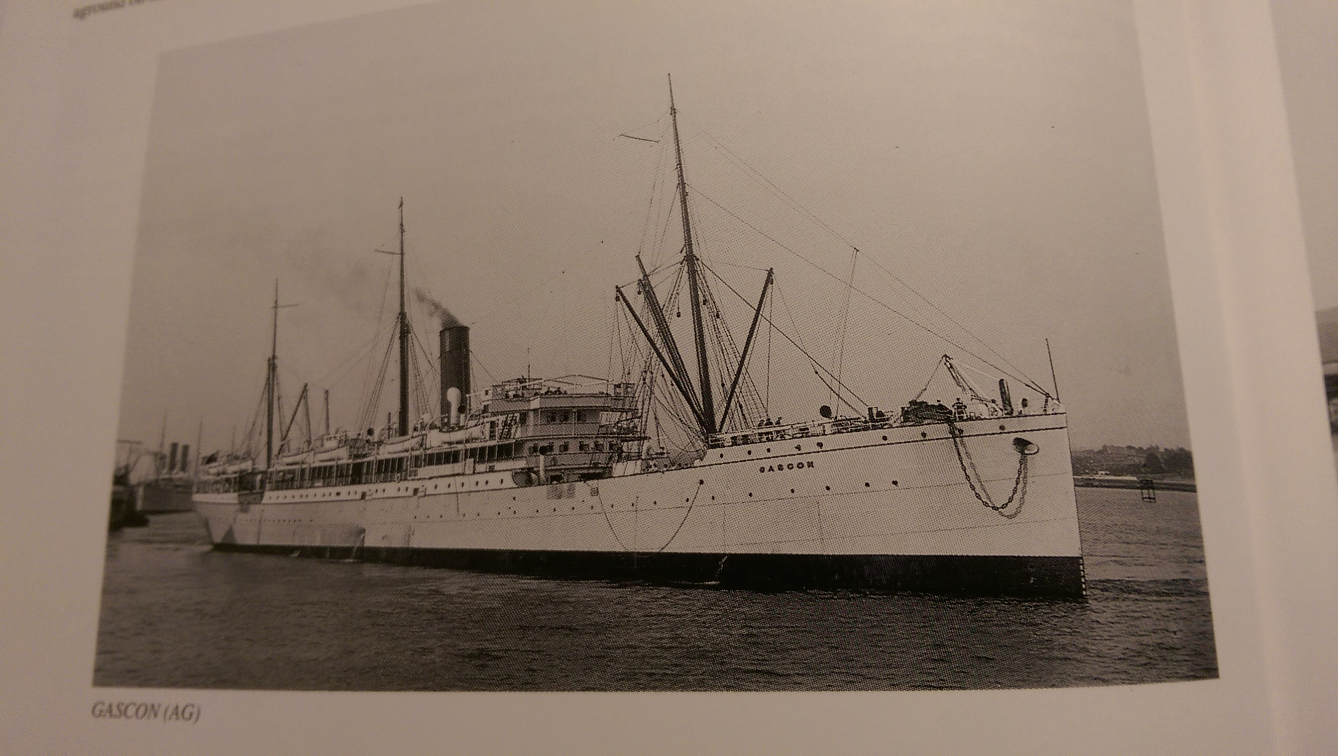 FRONT QUARTER PASSENGER SHIP GASCON BUILT IN BELFAST 1897