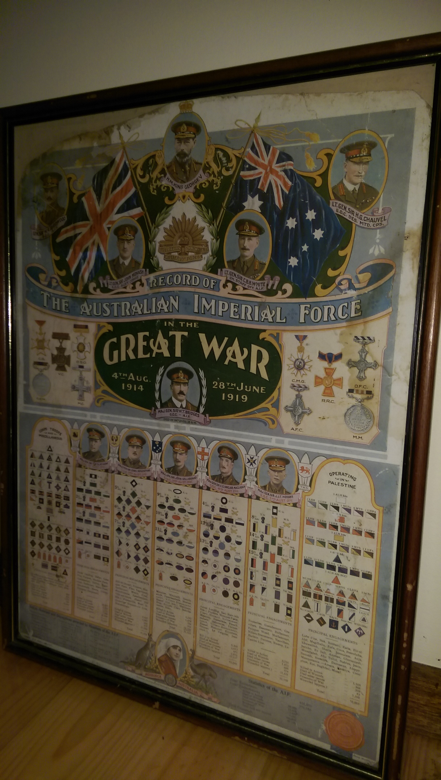 RSL PRINTED POSTER SHOWING ALL THE MAJOR PEOPLE THAT CLEMENTINA WORKED WITH DURING WW1, PRINTED IN 1