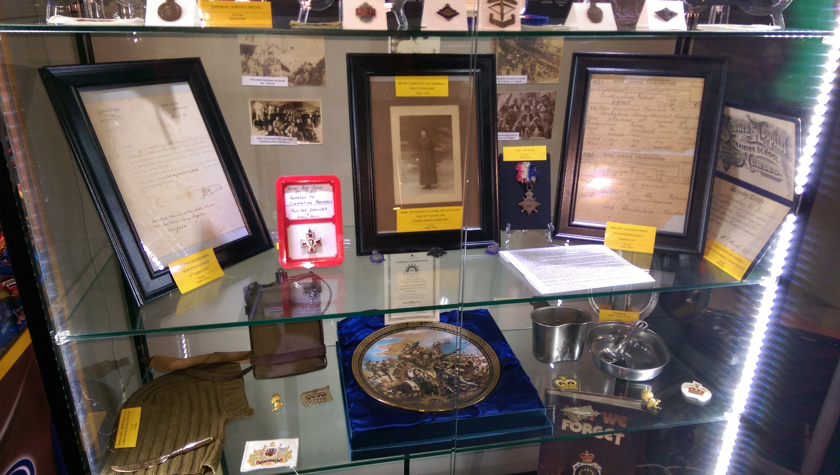 urunga rsl display cabinet 2015 with royal red cross included