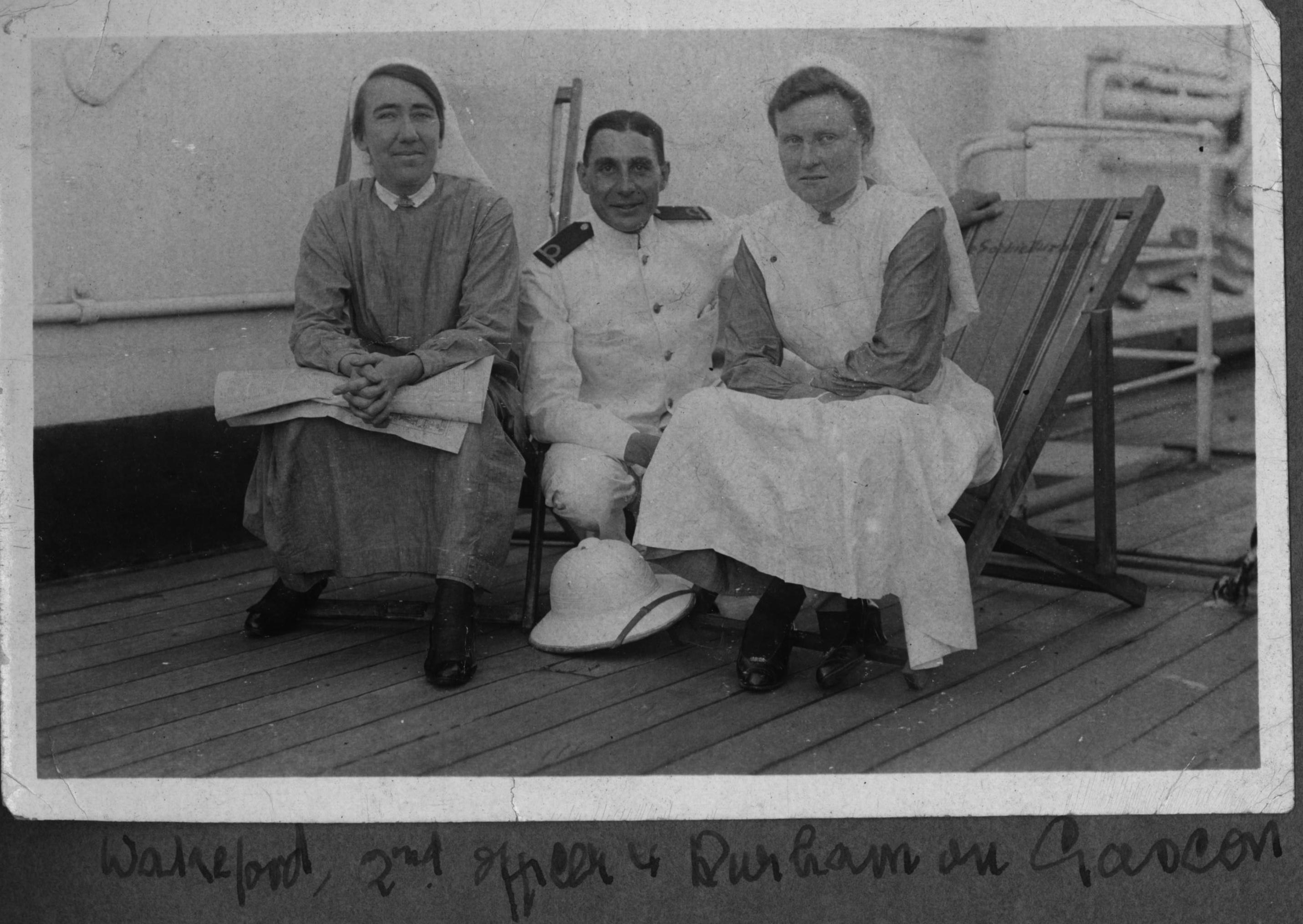 ON BOARD HS GASCON  LEFT IS NURSE MURIAL WAKEFORD , THEN SECOND OFFICER THEN RIGHT SIDE IS NURSE SIS