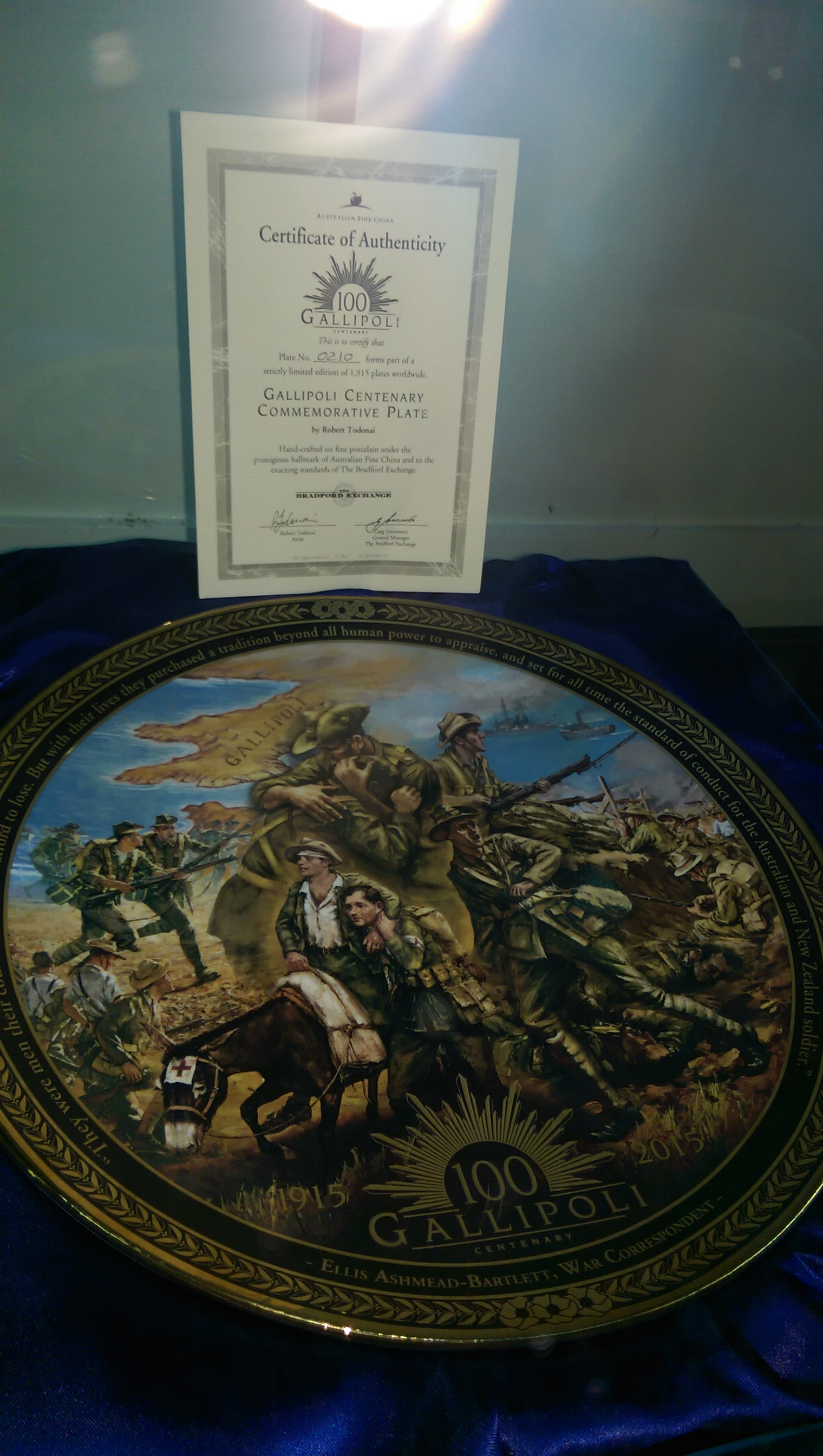 painted ceramic plate kindly donated by Max & Mavis Marshall to Urunga RSL display cabinet c/o Cleme
