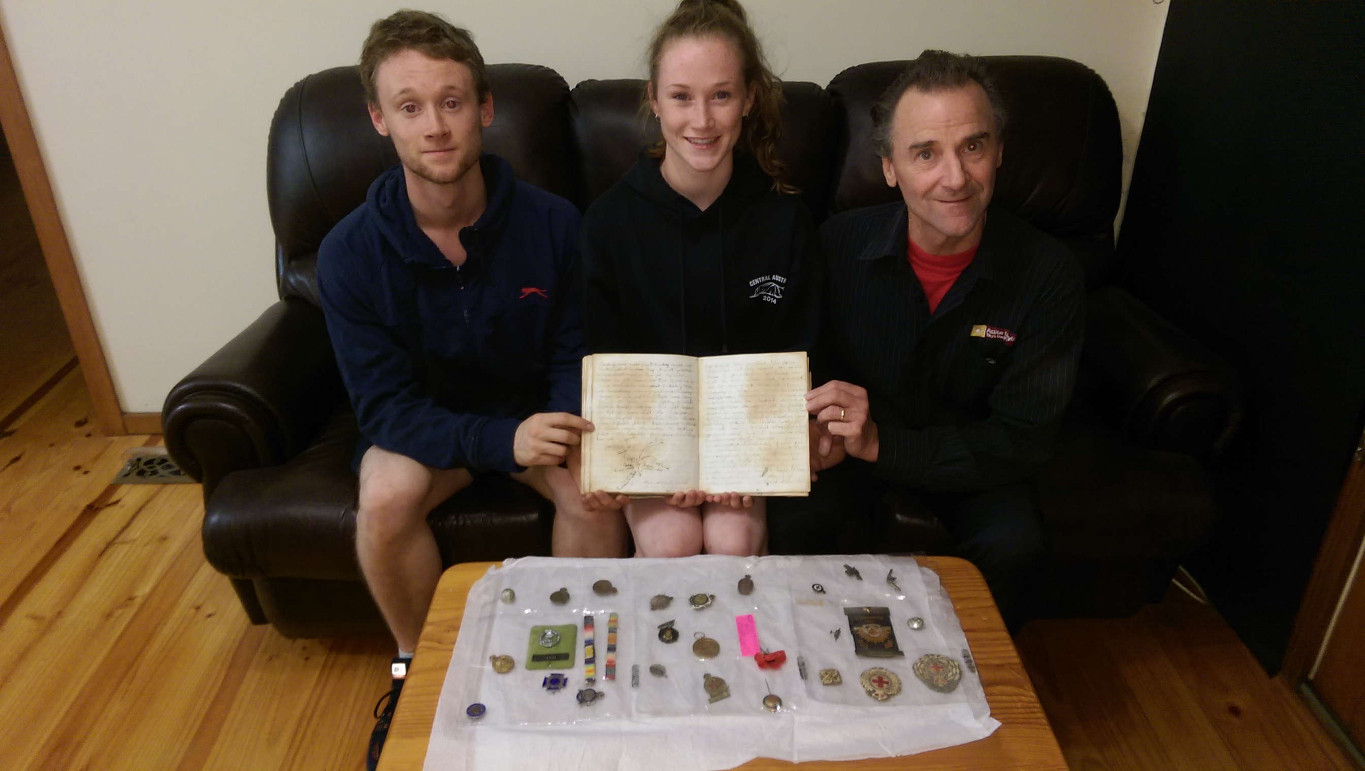 Alex & Emily & Donald Marshall with Clementina ANZAC day diary 1915