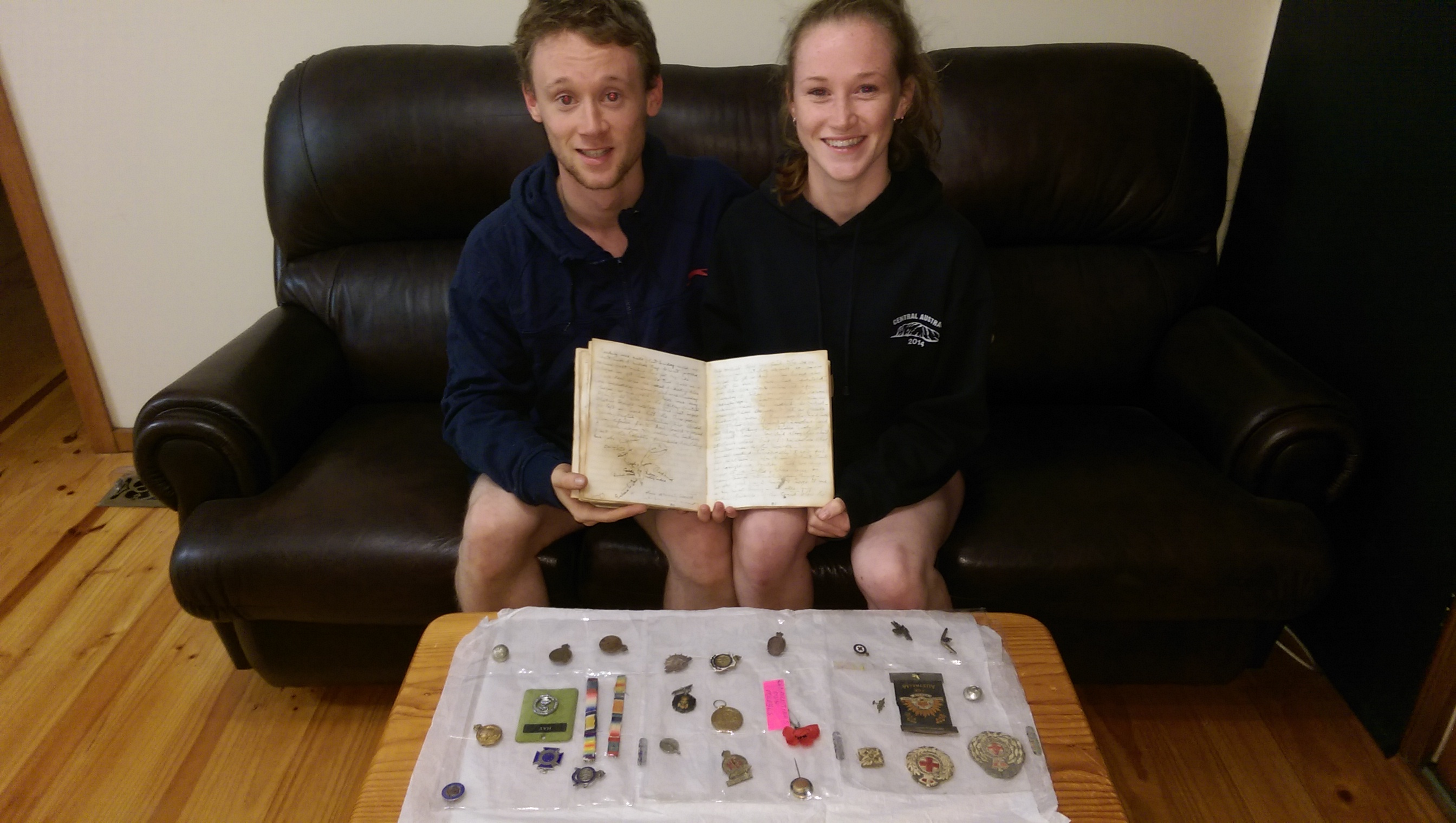 Alex &  Emily Marshall with Clementina ANZAC day diary 1915