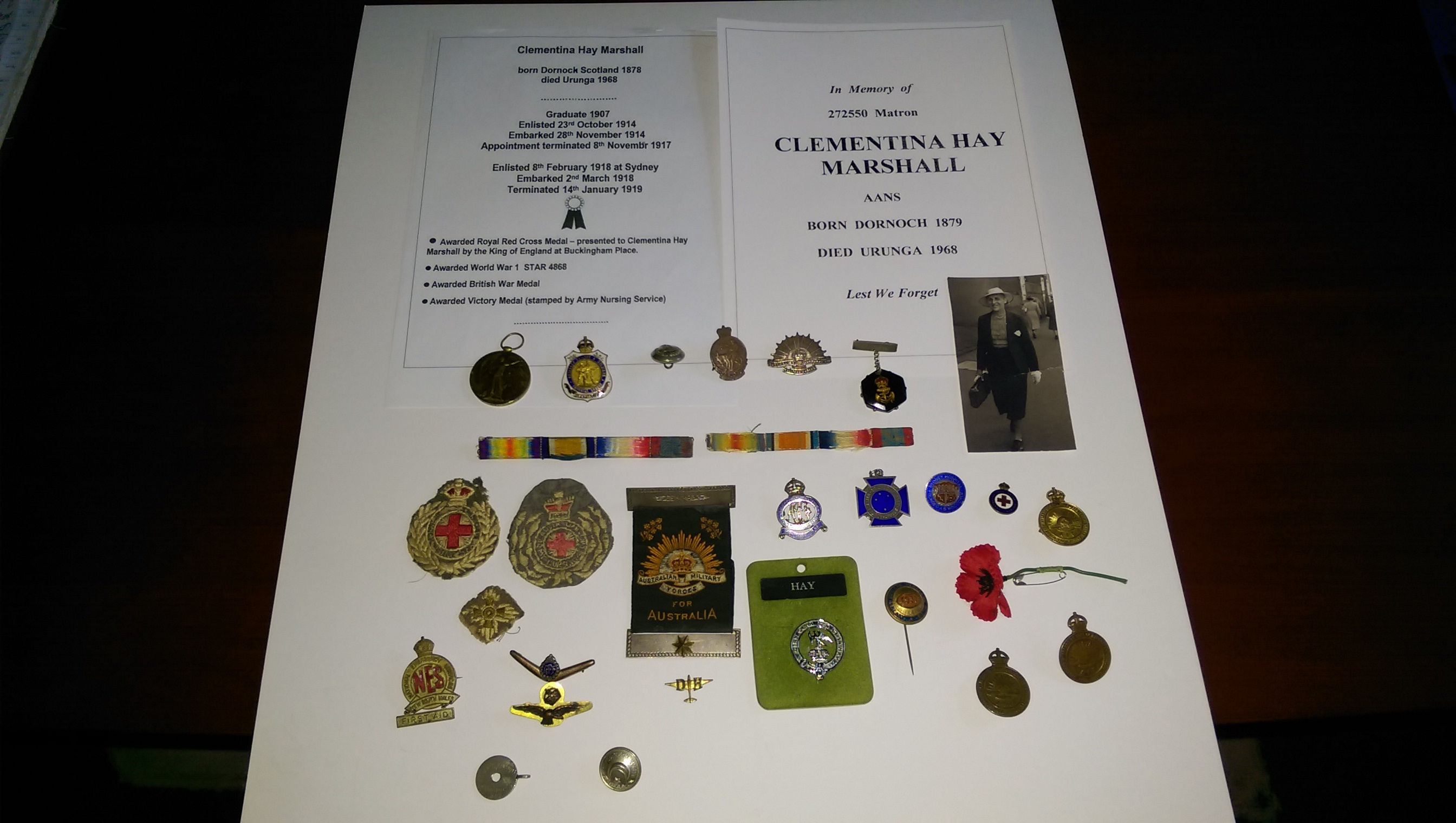 clementina hay marshall personal badges & medals