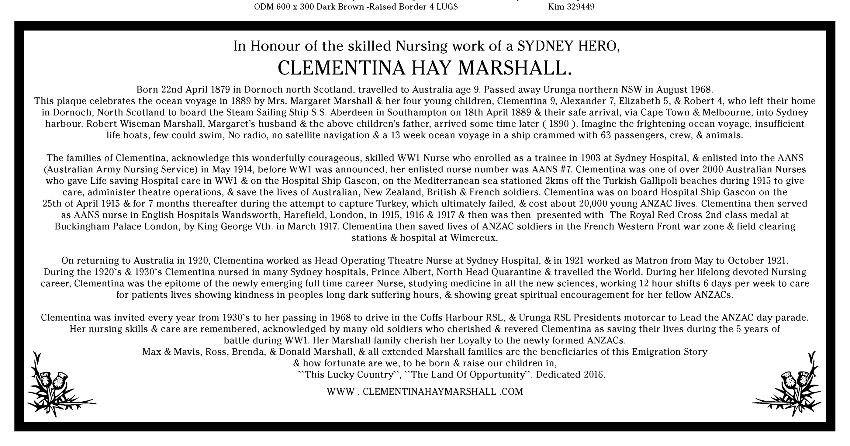 BRONZE PLATE FOR CLEMENTINA MARSHALL URUNGA GRAVE SITE